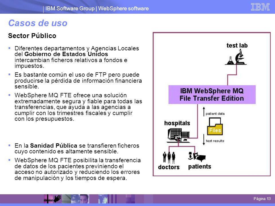 IBM Software Group | WebSphere software Casos de uso Página 13 Sector Público Diferentes departamentos y Agencias Locales del Gobierno de Estados Unid