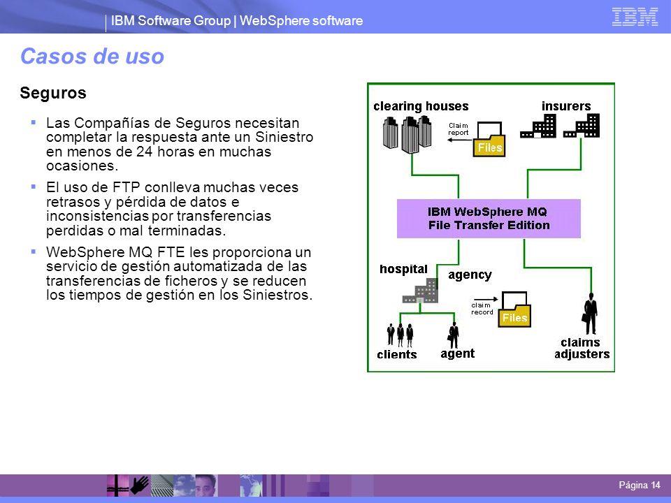 IBM Software Group | WebSphere software Casos de uso Página 14 Seguros Las Compañías de Seguros necesitan completar la respuesta ante un Siniestro en