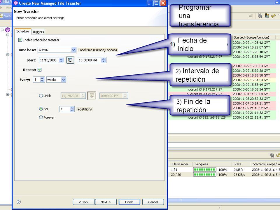 IBM Software Group | WebSphere software Programar una transferencia Fecha de inicio 2) Intervalo de repetición 3) Fin de la repetición