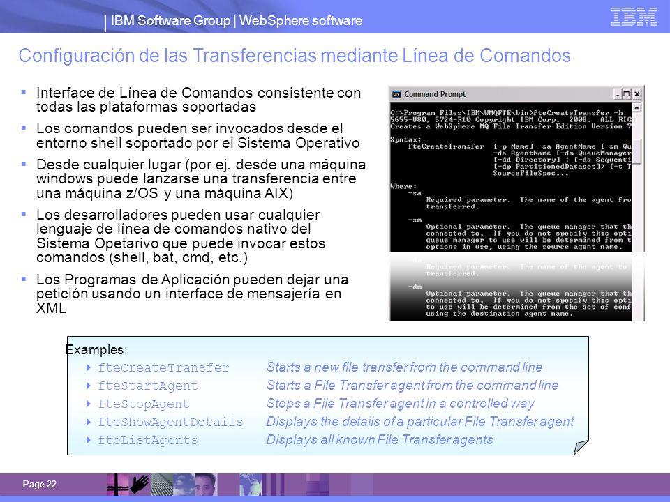 IBM Software Group | WebSphere software Page 22 Configuración de las Transferencias mediante Línea de Comandos Interface de Línea de Comandos consiste