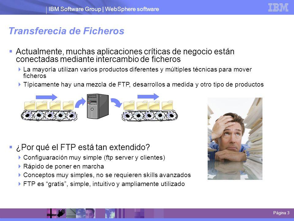 IBM Software Group | WebSphere software Transferecia de Ficheros Actualmente, muchas aplicaciones críticas de negocio están conectadas mediante interc