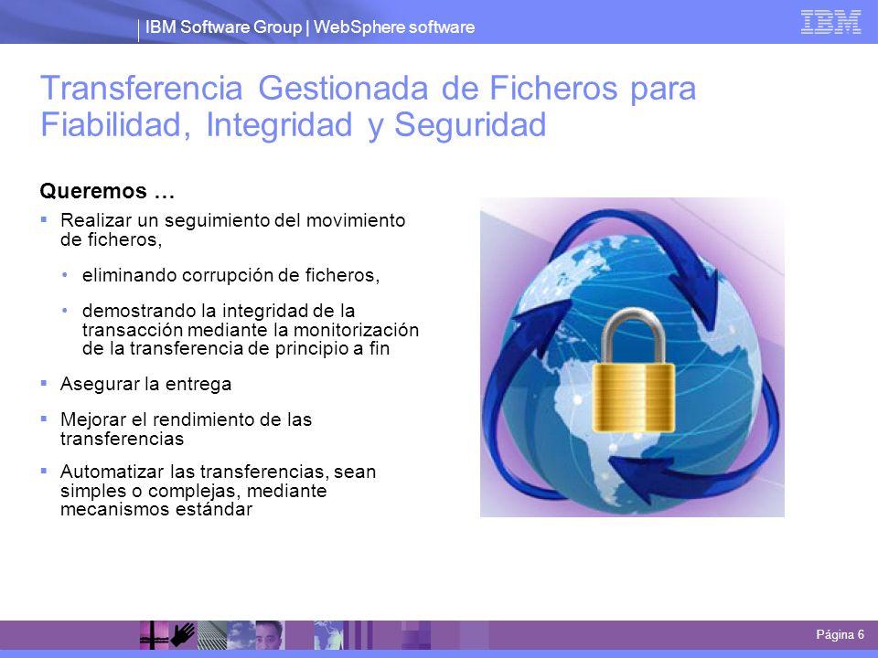 IBM Software Group | WebSphere software Transferencia Gestionada de Ficheros para Fiabilidad, Integridad y Seguridad Queremos … Realizar un seguimient