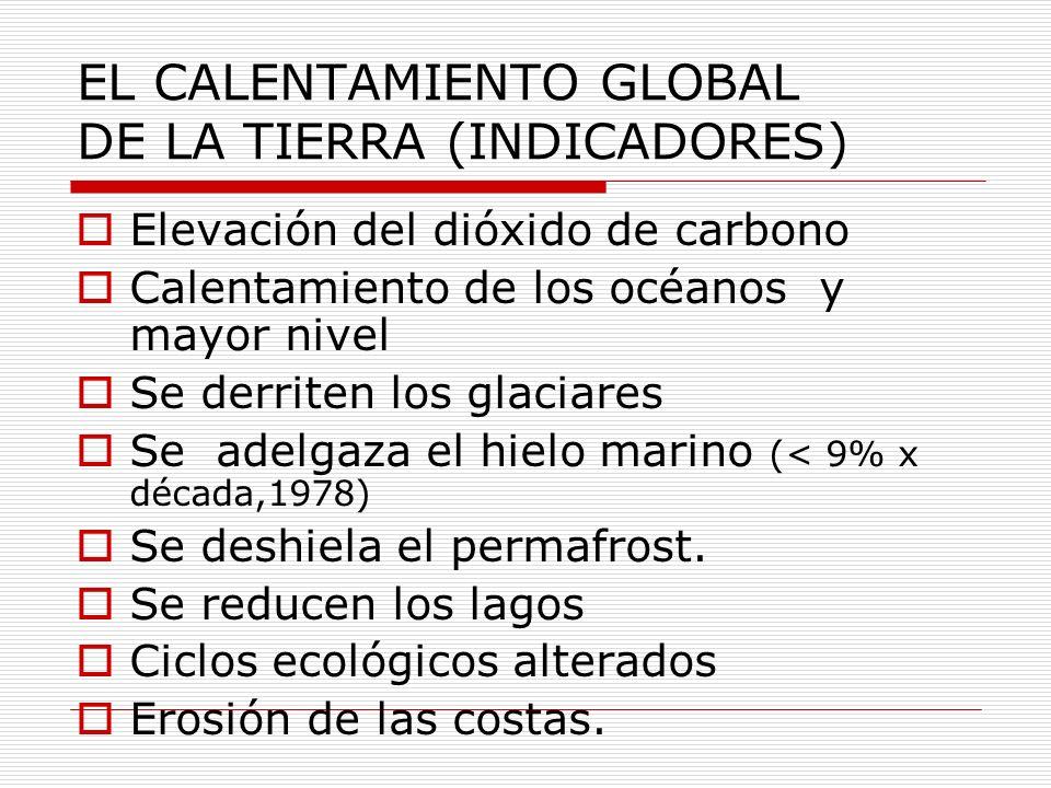 EL CALENTAMIENTO GLOBAL DE LA TIERRA (INDICADORES) Elevación del dióxido de carbono Calentamiento de los océanos y mayor nivel Se derriten los glaciar