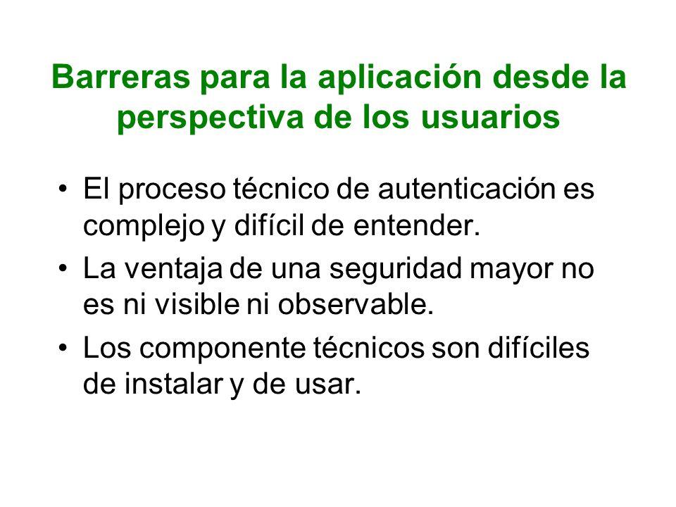 Barreras para la aplicación desde la perspectiva de distribución Existe un círculo vicioso: mientras que los métodos de autenticación existentes se ofrezcan en paralelo, no habrá necesidad de adoptar la autenticación eID.