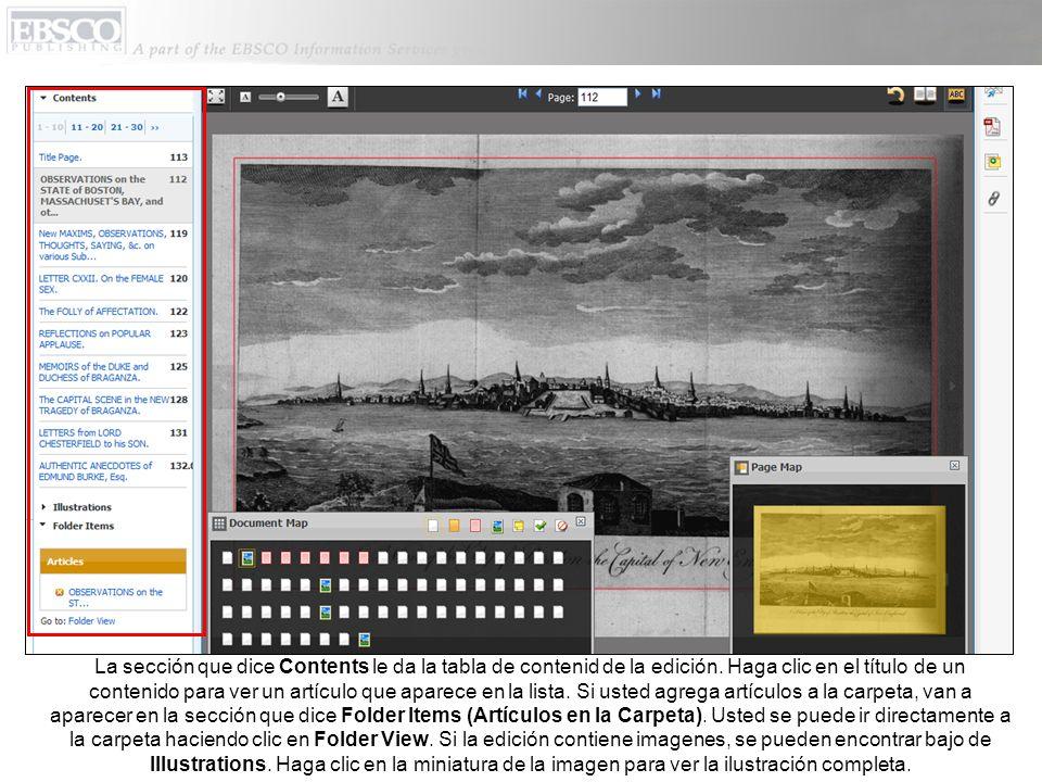 La sección que dice Contents le da la tabla de contenid de la edición.