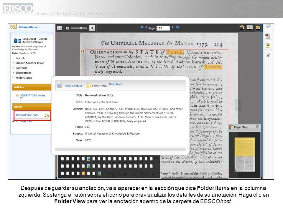 Después de guardar su anotación, va a aparecer en la sección que dice Folder Items en la columna izquierda.