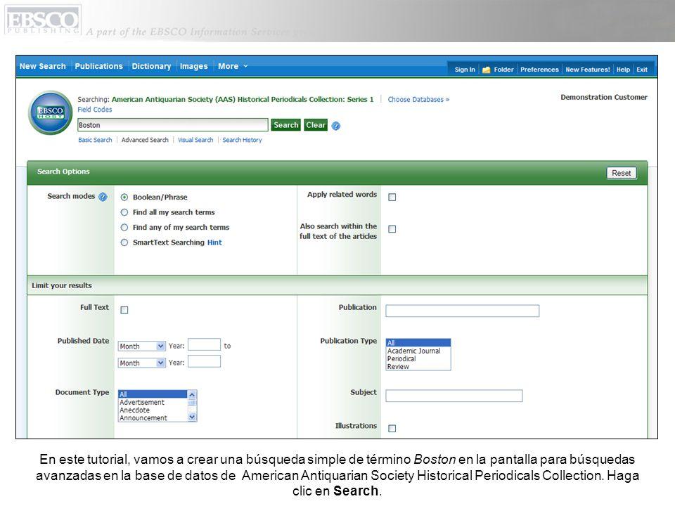 Una lista de resultados de EBSCOhost aparece con artículos relacionados con su término de búsqueda.