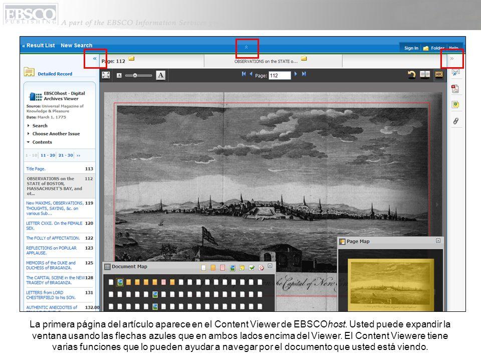 La primera página del artículo aparece en el Content Viewer de EBSCOhost.