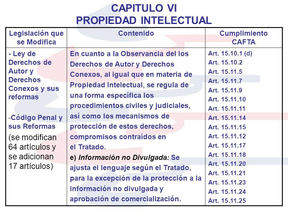 CAPITULO VI PROPIEDAD INTELECTUAL Legislación que se Modifica ContenidoCumplimiento CAFTA - Ley de Derechos de Autor y Derechos Conexos y sus reformas