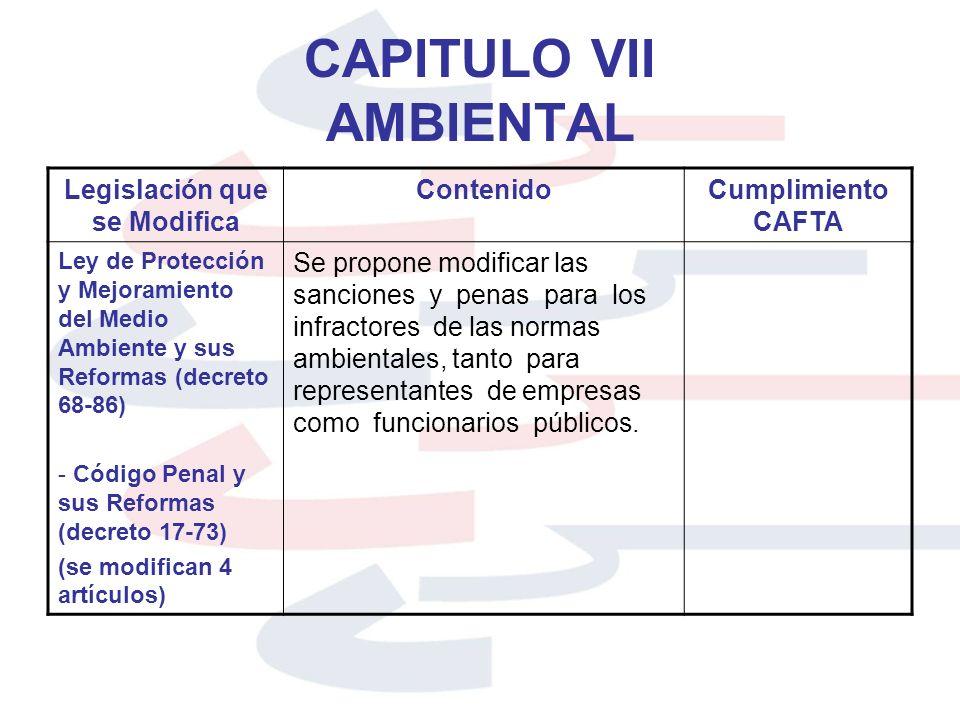 CAPITULO VII AMBIENTAL Legislación que se Modifica ContenidoCumplimiento CAFTA Ley de Protección y Mejoramiento del Medio Ambiente y sus Reformas (dec