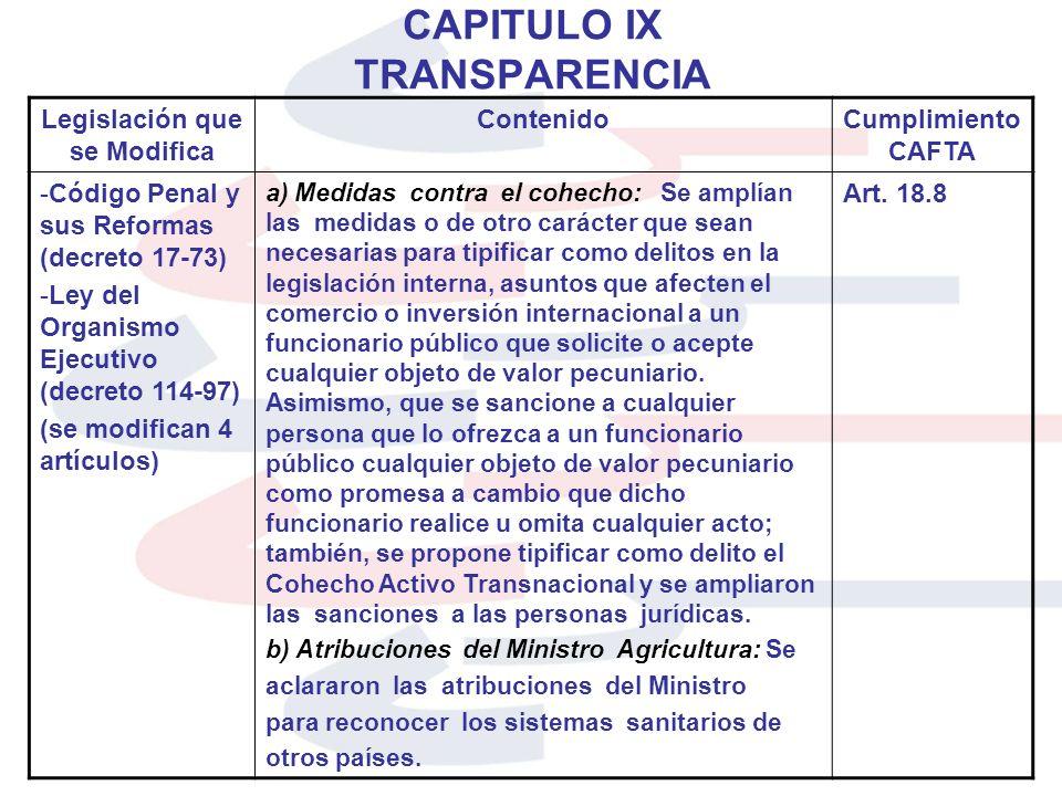CAPITULO IX TRANSPARENCIA Legislación que se Modifica ContenidoCumplimiento CAFTA -Código Penal y sus Reformas (decreto 17-73) -Ley del Organismo Ejec
