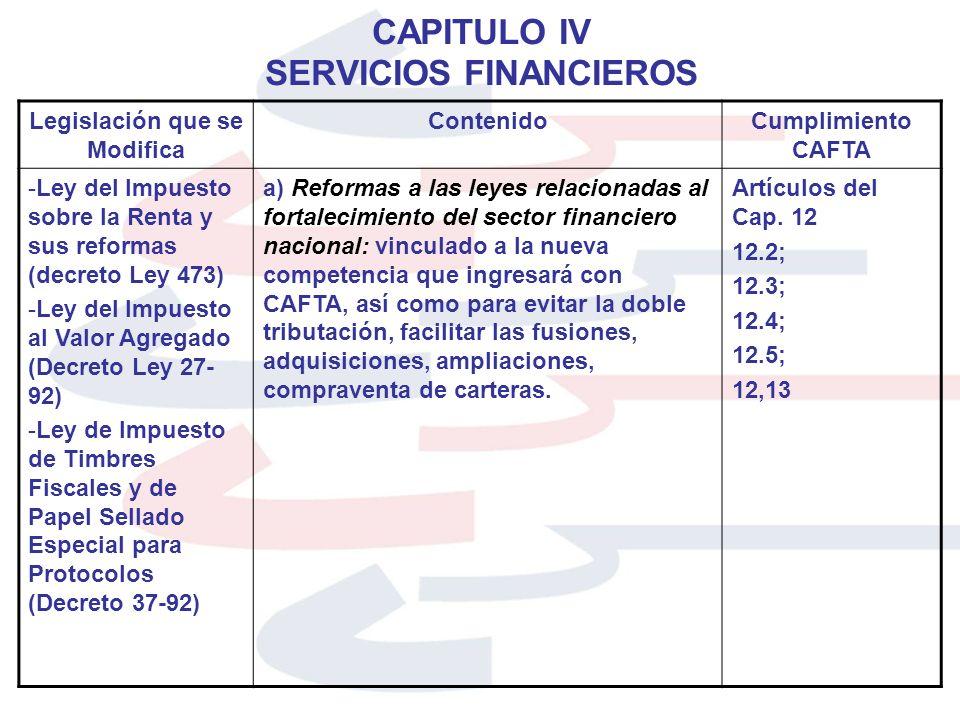 CAPITULO IV SERVICIOS FINANCIEROS Legislación que se Modifica ContenidoCumplimiento CAFTA -Ley del Impuesto sobre la Renta y sus reformas (decreto Ley