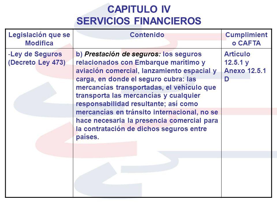 CAPITULO IV SERVICIOS FINANCIEROS Legislación que se Modifica ContenidoCumplimient o CAFTA -Ley de Seguros (Decreto Ley 473) b) Prestación de seguros: