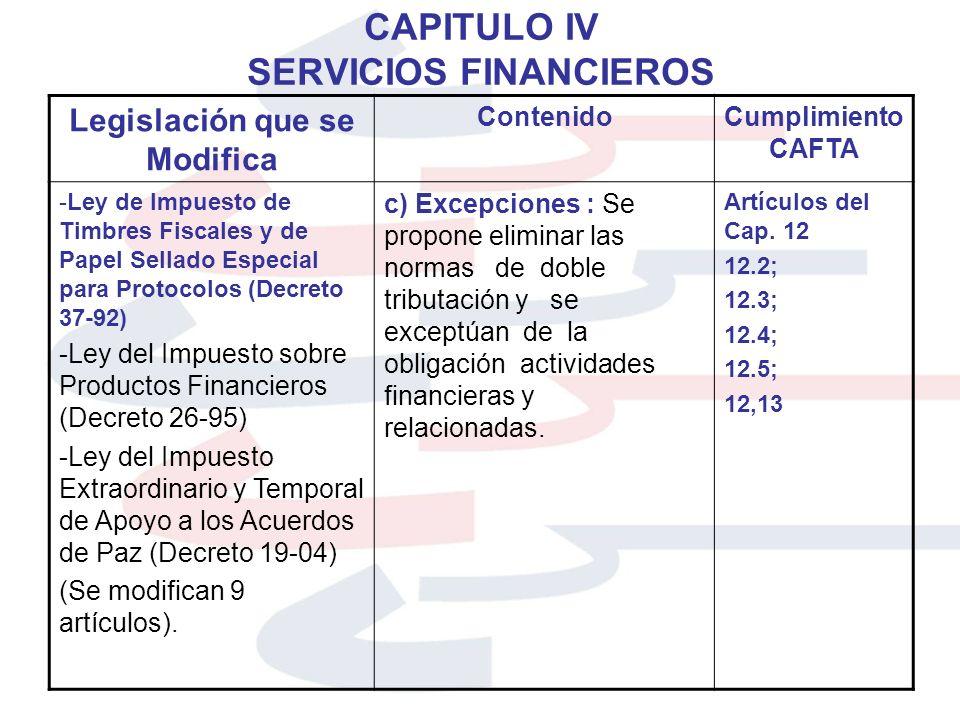 CAPITULO IV SERVICIOS FINANCIEROS Legislación que se Modifica ContenidoCumplimiento CAFTA -Ley de Impuesto de Timbres Fiscales y de Papel Sellado Espe