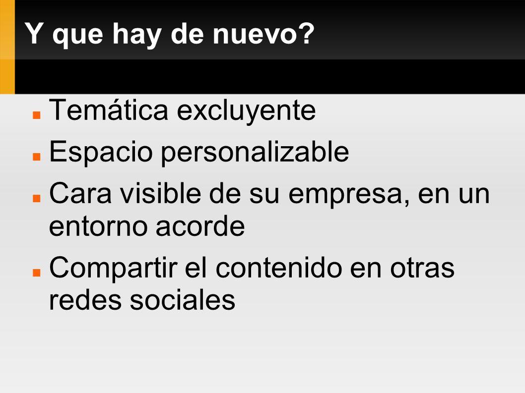 Y que hay de nuevo? Temática excluyente Espacio personalizable Cara visible de su empresa, en un entorno acorde Compartir el contenido en otras redes
