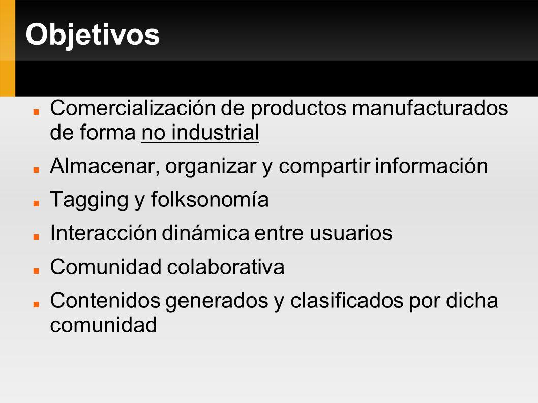 Objetivos Comercialización de productos manufacturados de forma no industrial Almacenar, organizar y compartir información Tagging y folksonomía Inter