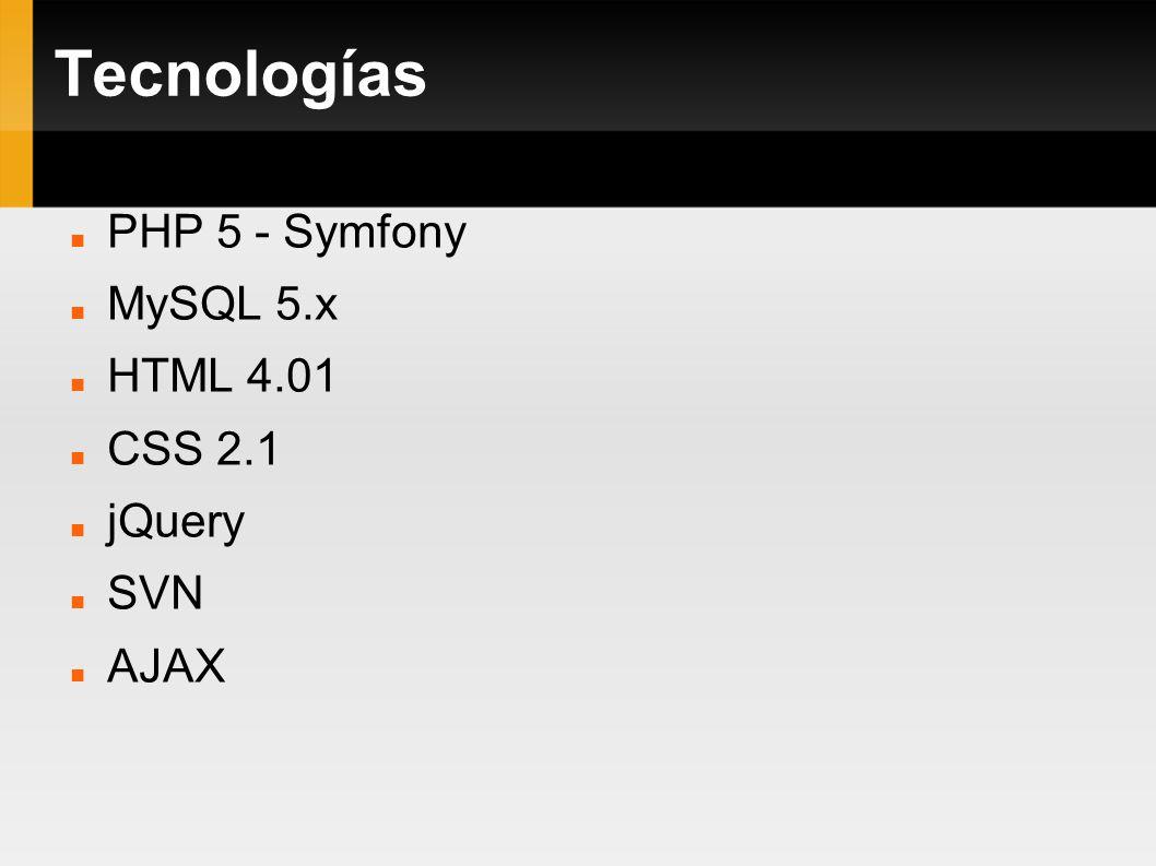 Tecnologías PHP 5 - Symfony MySQL 5.x HTML 4.01 CSS 2.1 jQuery SVN AJAX