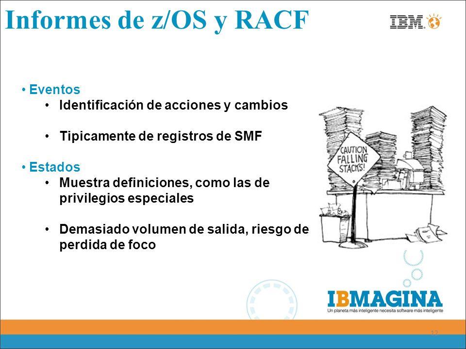 12 Informes de z/OS y RACF Eventos Identificación de acciones y cambios Tipicamente de registros de SMF Estados Muestra definiciones, como las de priv