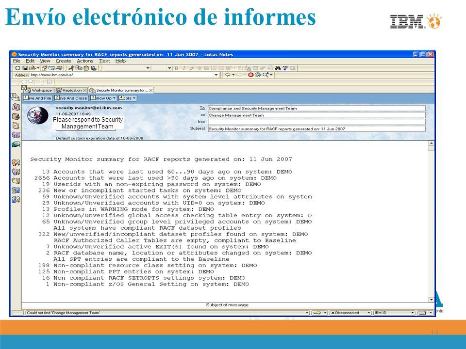 19 Please respond to Security Management Team Envío electrónico de informes