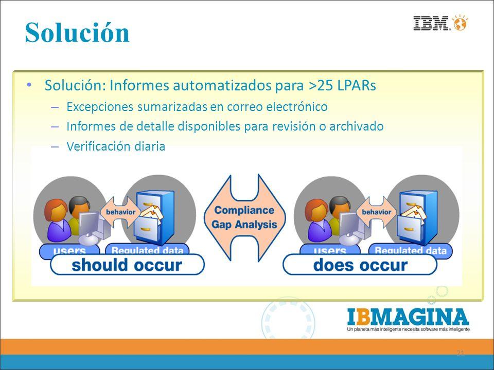 21 Solución Solución: Informes automatizados para >25 LPARs – Excepciones sumarizadas en correo electrónico – Informes de detalle disponibles para rev