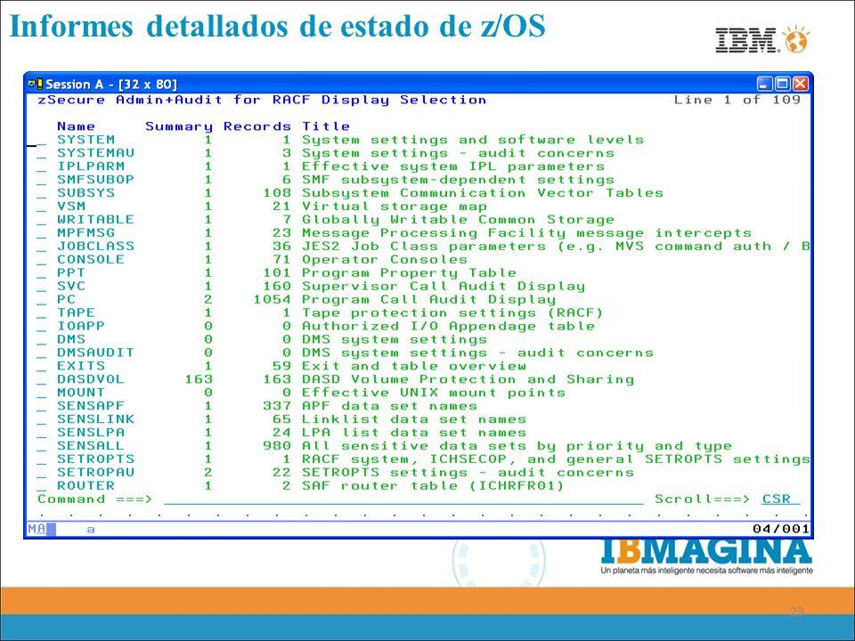 23 Informes detallados de estado de z/OS