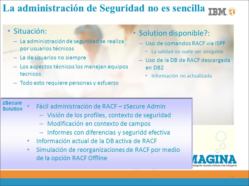 29 La administración de Seguridad no es sencilla Situación: – La administración de seguridad se realiza por usuarios técnicos – La de usuarios no siem