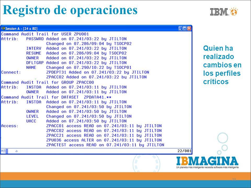 38 Registro de operaciones Quien ha realizado cambios en los perfiles críticos