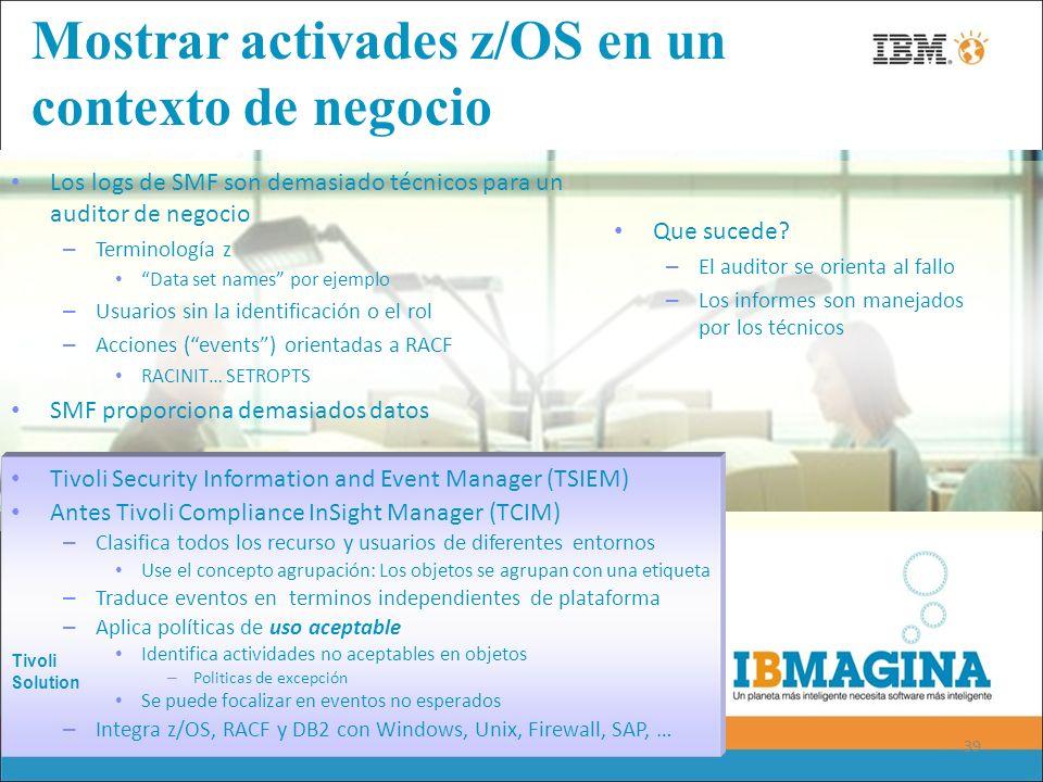 39 Mostrar activades z/OS en un contexto de negocio Los logs de SMF son demasiado técnicos para un auditor de negocio – Terminología z Data set names