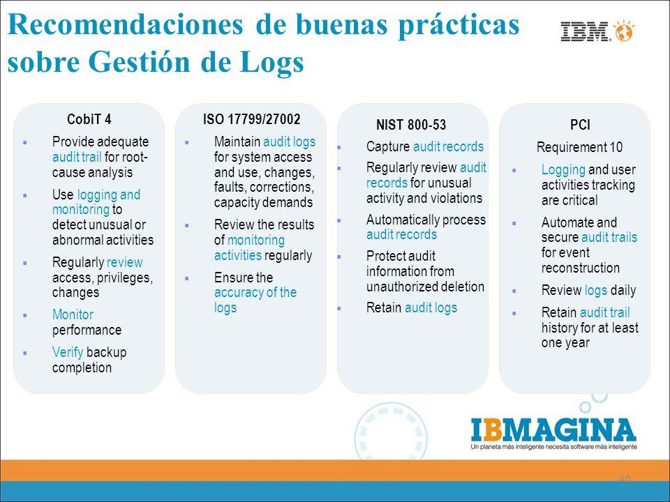 40 Recomendaciones de buenas prácticas sobre Gestión de Logs ISO 17799/27002 Maintain audit logs for system access and use, changes, faults, correctio