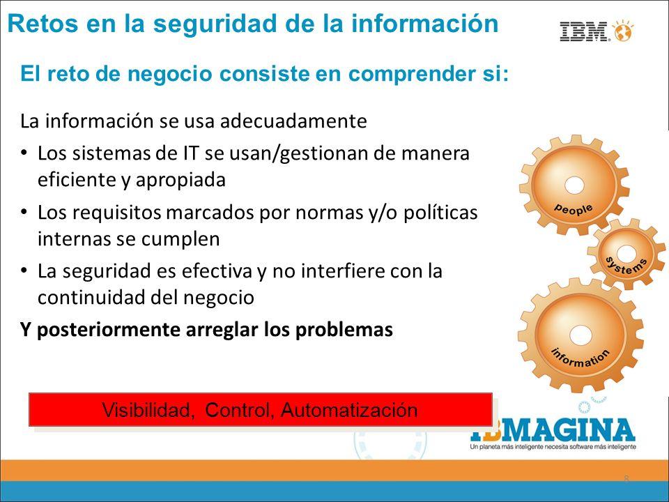 8 La información se usa adecuadamente Los sistemas de IT se usan/gestionan de manera eficiente y apropiada Los requisitos marcados por normas y/o polí
