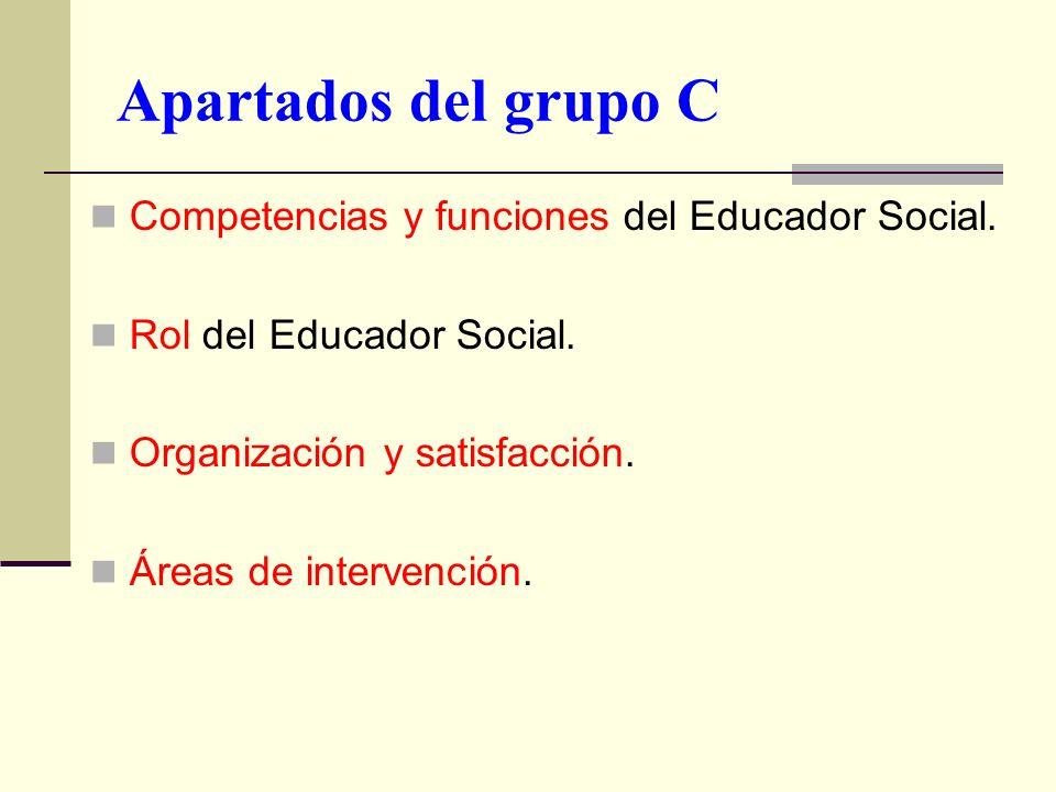 Apartados del grupo C Competencias y funciones del Educador Social. Rol del Educador Social. Organización y satisfacción. Áreas de intervención.