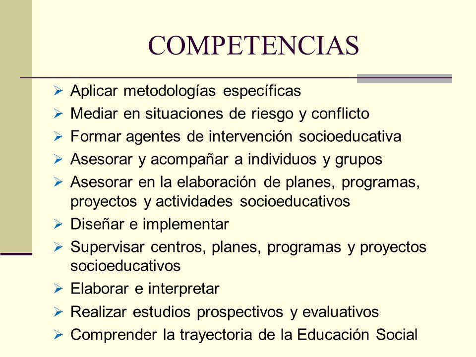 COMPETENCIAS Aplicar metodologías específicas Mediar en situaciones de riesgo y conflicto Formar agentes de intervención socioeducativa Asesorar y aco