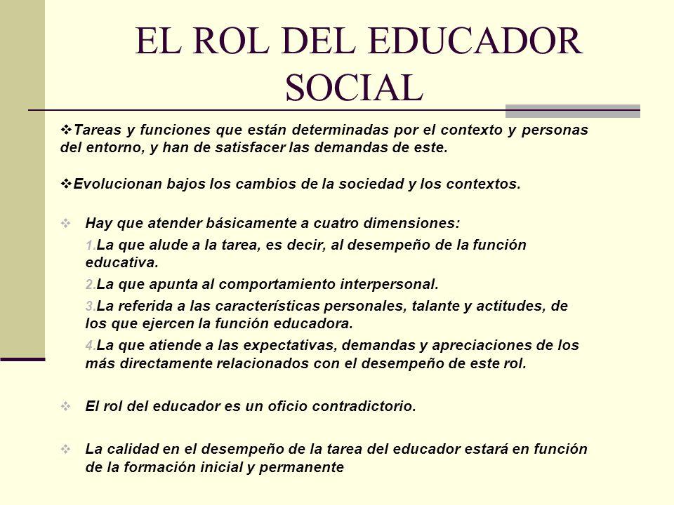 EL ROL DEL EDUCADOR SOCIAL Tareas y funciones que están determinadas por el contexto y personas del entorno, y han de satisfacer las demandas de este.