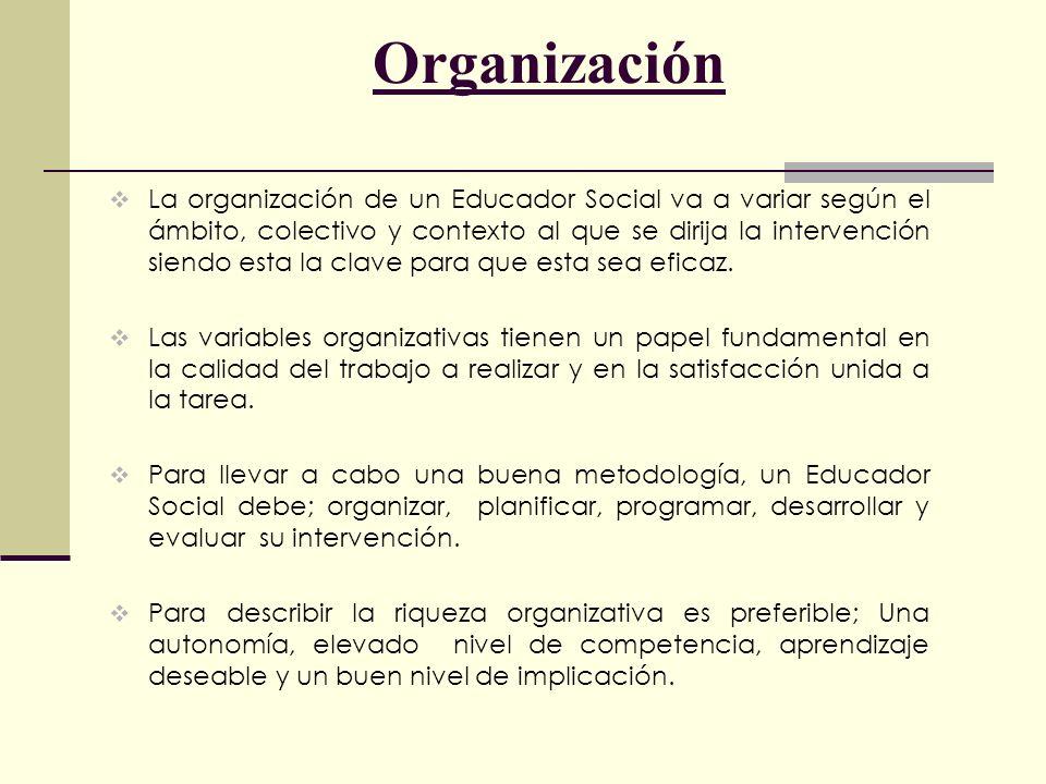 Organización La organización de un Educador Social va a variar según el ámbito, colectivo y contexto al que se dirija la intervención siendo esta la c
