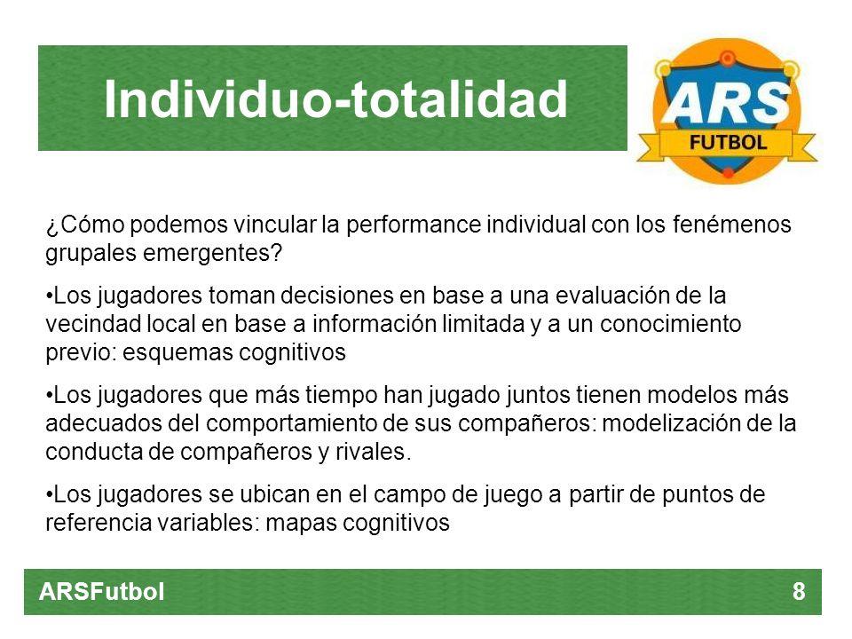 Individuo-totalidad ARSFutbol 8 ¿Cómo podemos vincular la performance individual con los fenémenos grupales emergentes? Los jugadores toman decisiones
