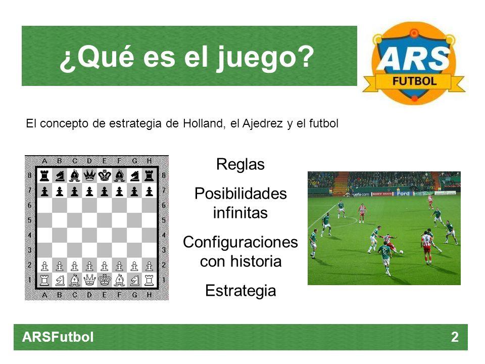 ARSFutbol 2 El concepto de estrategia de Holland, el Ajedrez y el futbol Reglas Posibilidades infinitas Configuraciones con historia Estrategia ¿Qué e
