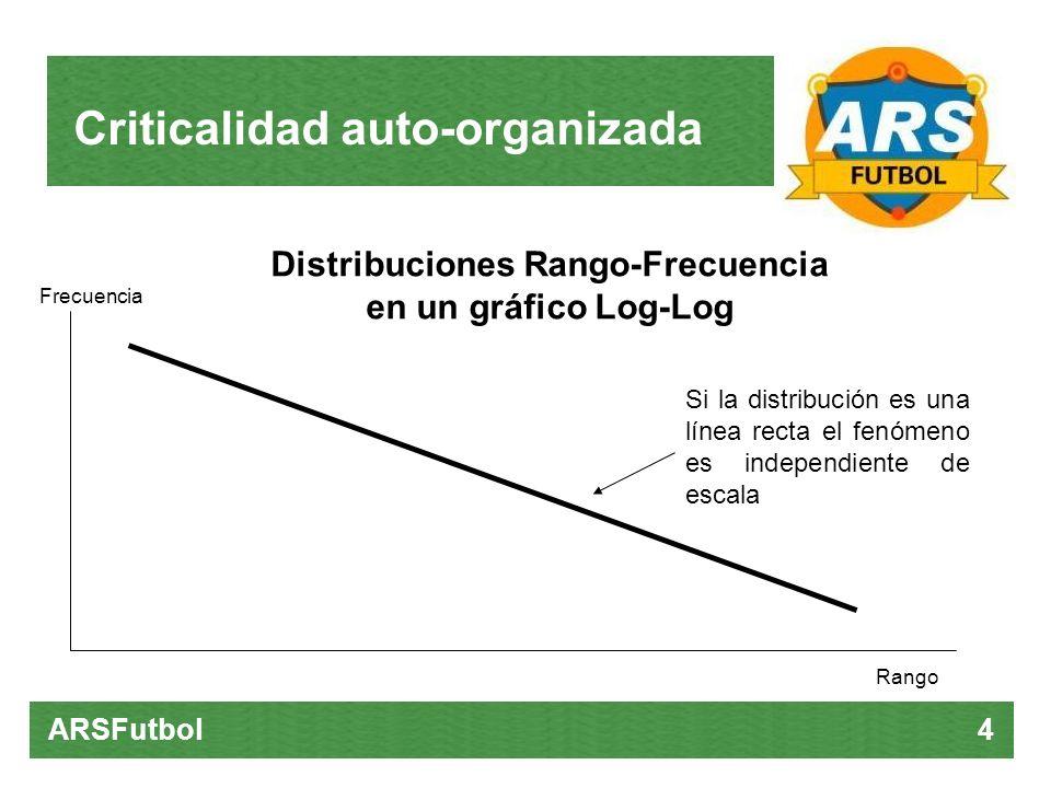 Criticalidad auto-organizada ARSFutbol 4 Distribuciones Rango-Frecuencia en un gráfico Log-Log Rango Frecuencia Si la distribución es una línea recta