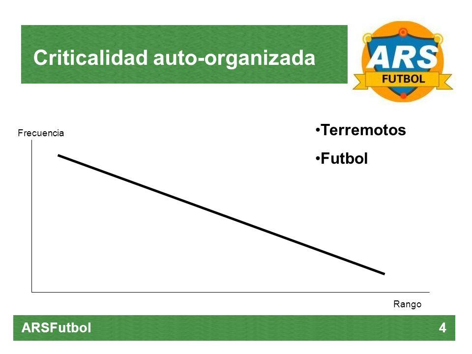 Criticalidad auto-organizada ARSFutbol 4 Terremotos Futbol Rango Frecuencia