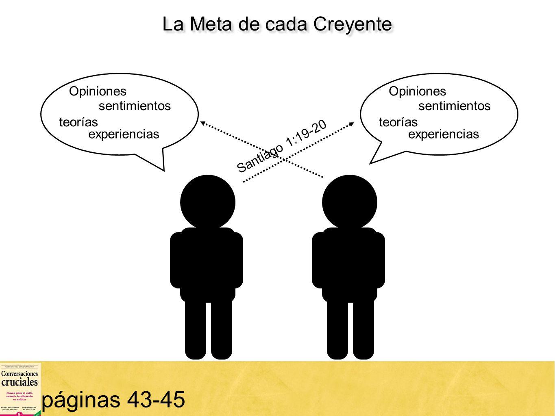 14 páginas 43-45 Opiniones teorías sentimientos experiencias Opiniones teorías sentimientos experiencias La Meta de cada Creyente Santiago 1:19-20
