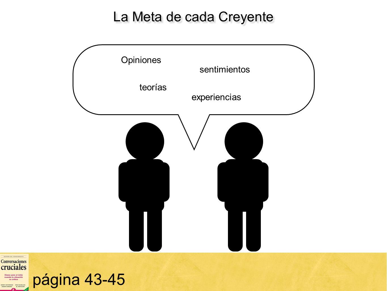 15 página 43-45 teorías Opiniones teorías sentimientos experiencias La Meta de cada Creyente