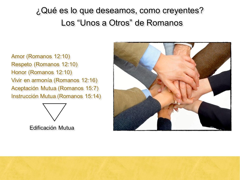 18 ¿Qué es lo que deseamos, como creyentes? Los Unos a Otros de Romanos Amor (Romanos 12:10) Respeto (Romanos 12:10) Honor (Romanos 12:10) Vivir en ar