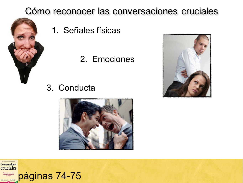 21 Cómo reconocer las conversaciones cruciales páginas 74-75 1. Señales físicas 2. Emociones 3. Conducta