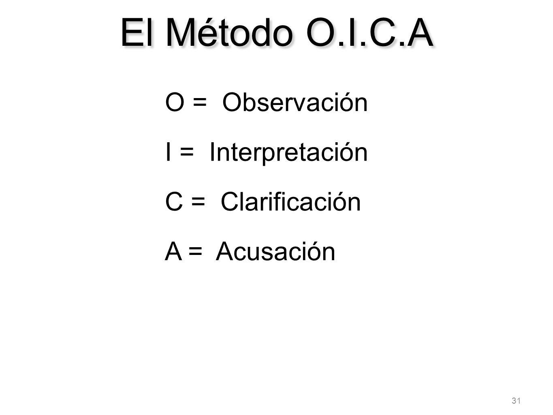 31 El Método O.I.C.A O = Observación I = Interpretación C = Clarificación A = Acusación