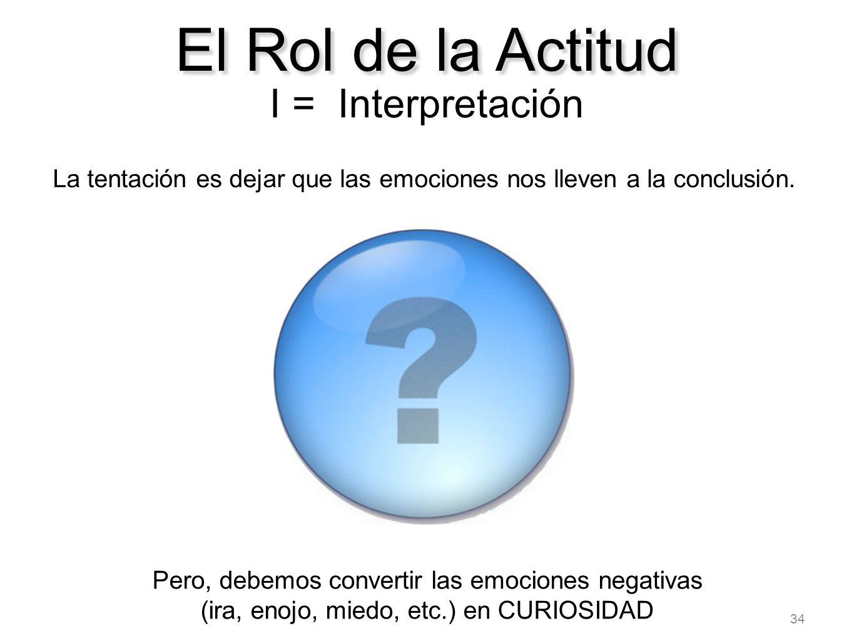 34 El Rol de la Actitud I = Interpretación La tentación es dejar que las emociones nos lleven a la conclusión. Pero, debemos convertir las emociones n