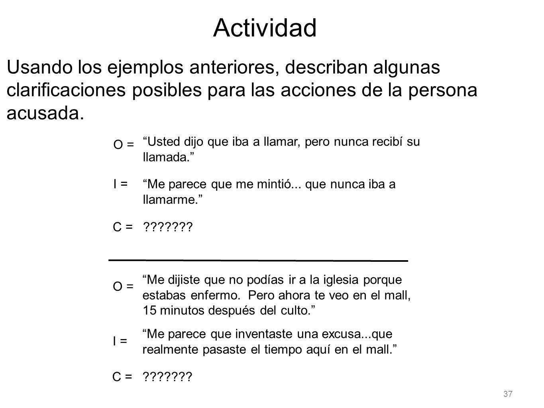 37 Actividad Usando los ejemplos anteriores, describan algunas clarificaciones posibles para las acciones de la persona acusada. Usted dijo que iba a