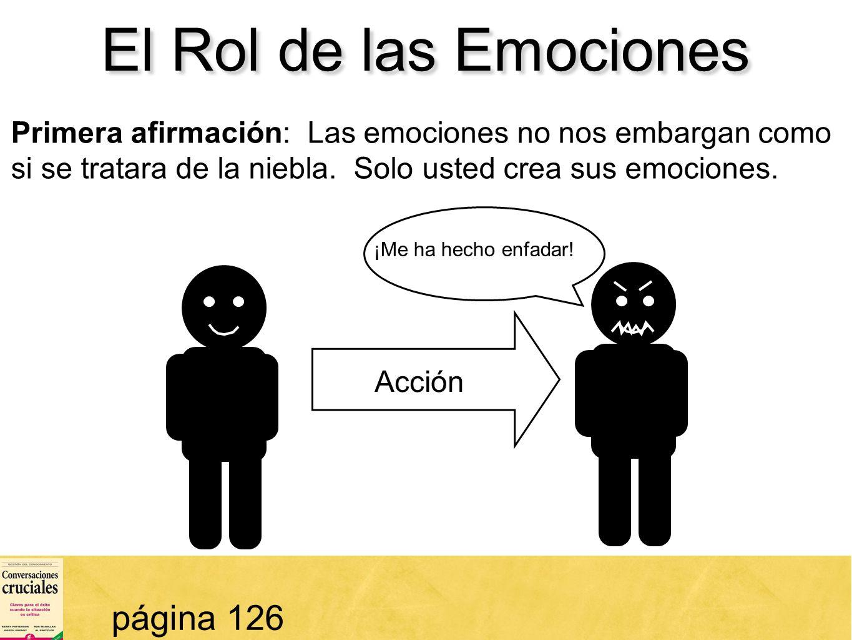 41 El Rol de las Emociones página 126 Primera afirmación: Las emociones no nos embargan como si se tratara de la niebla. Solo usted crea sus emociones
