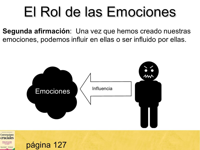 43 El Rol de las Emociones página 127 Segunda afirmación: Una vez que hemos creado nuestras emociones, podemos influir en ellas o ser influido por ell