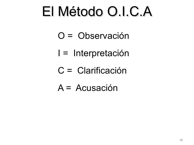 49 El Método O.I.C.A O = Observación I = Interpretación C = Clarificación A = Acusación