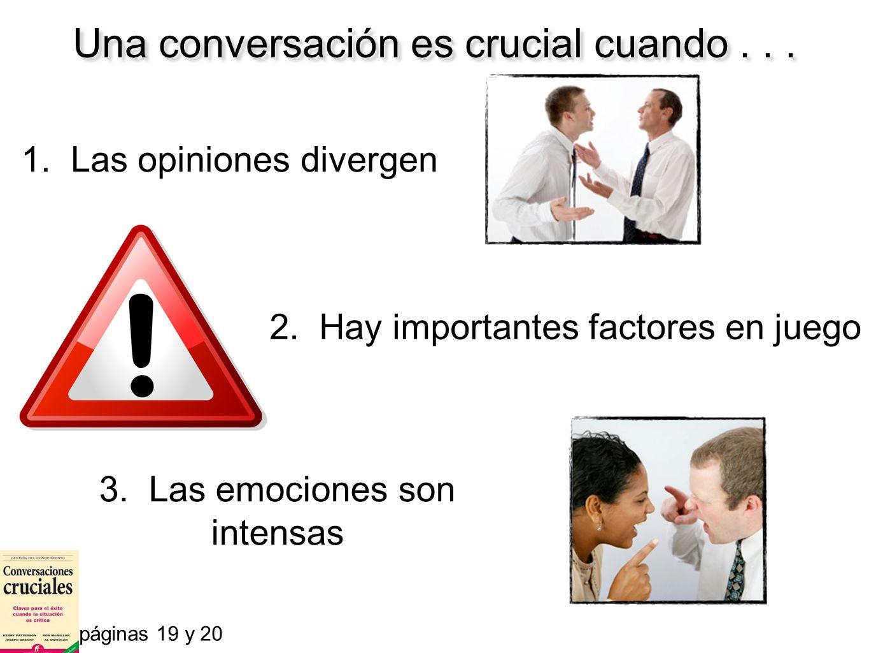 Una conversación es crucial cuando... 1. Las opiniones divergen páginas 19 y 20 2. Hay importantes factores en juego 3. Las emociones son intensas