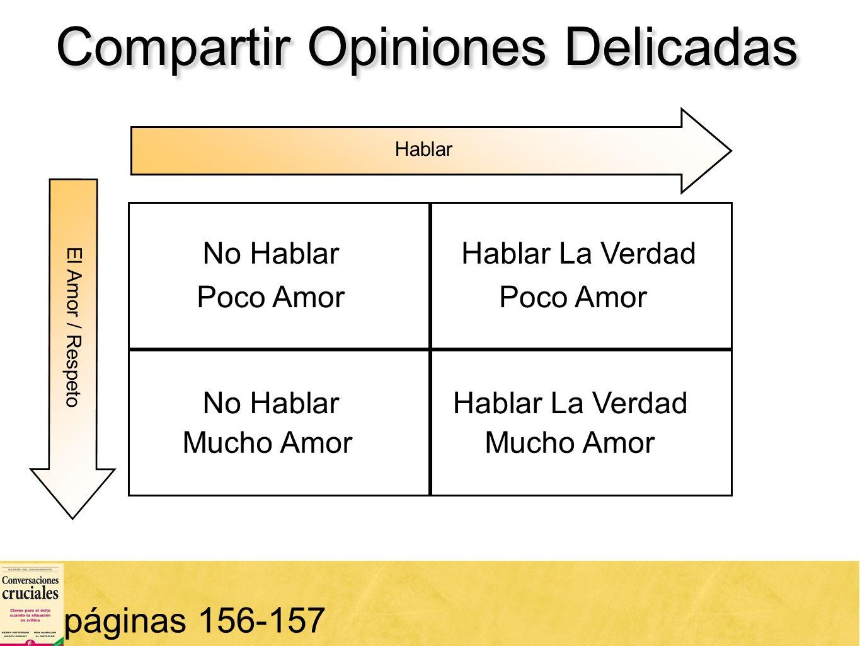 50 Compartir Opiniones Delicadas páginas 156-157 Hablar No HablarHablar La Verdad El Amor / Respeto No HablarHablar La Verdad Poco Amor Mucho Amor